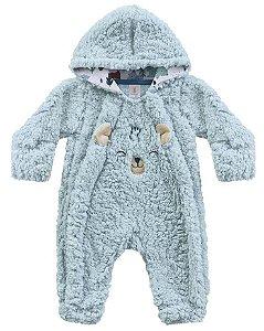 Macacão Bebê Longo Pêlos Fluffy Floresta Encantada Azul C