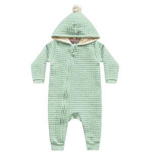 Macacão Moletom Matelassê Capuz Pompom Verde Kiko Baby