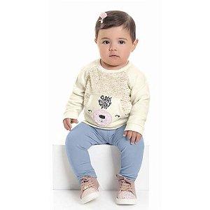 Conjunto Moletom Bebê Ursinha Atoalhado Calça Legging Off White Kiko e Kika