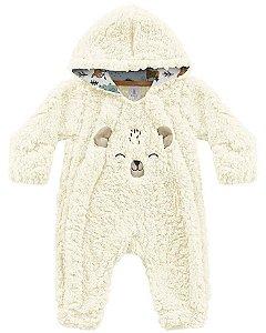 Macacão Bebê Longo Pêlos Fluffy Floresta Encantada Off White Kiko Baby