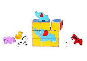 Brinquedo Educativo Bloco de Encaixe Animais 15 peças