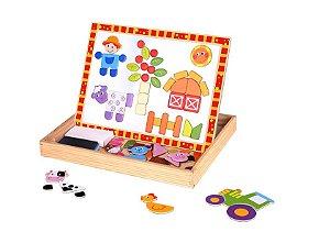 Brinquedo Educativo Quadro Magnético Fazenda com 85 peças