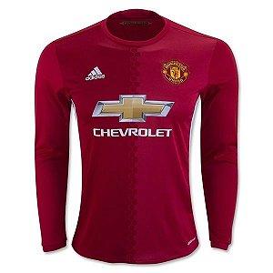 Camisa oficial Adidas Manchester United 2016 2017 I jogador manga comprida