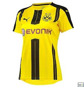 Camisa feminina oficial Puma Borussia Dortmund 2016 2017 I