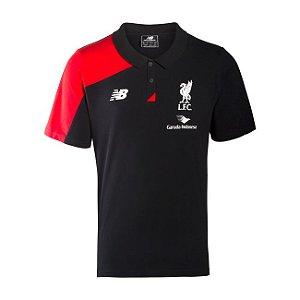 Camisa oficial Polo New Balance Liverpool 2016 2017 vermelha e preta