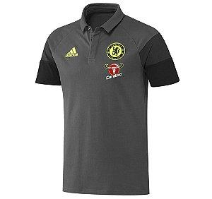 Camisa Polo oficial Adidas Chelsea 2016 2017 cinza