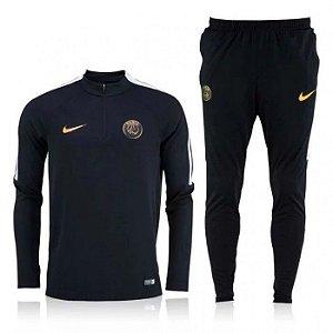 Kit treinamento oficial Nike PSG 2016 2017 preto e dourado