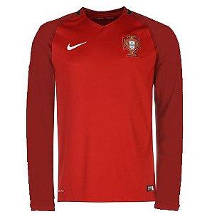 Camisa oficial Nike Seleção de Portugal Euro 2016 I jogador Manga comprida