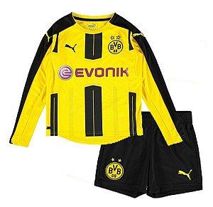 Kit oficial infantil Puma Borussia Dortmund 2016 2017 I jogador Manga comprida