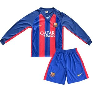 Kit oficial infantil Nike Barcelona 2016 2017 I jogador Manga comprida