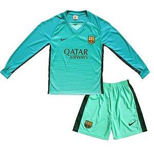 Kit oficial infantil Nike Barcelona 2016 2017 II jogador Manga comprida