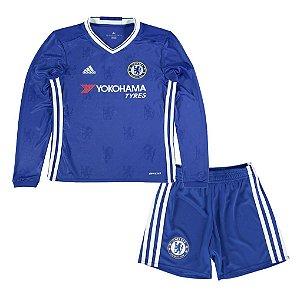 Kit infantil oficial adidas Chelsea 2016 2017 I jogador manga comprida