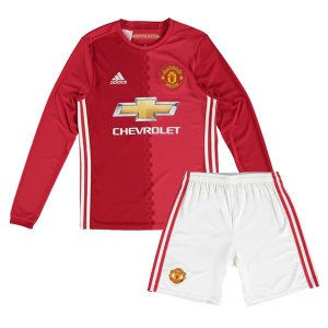 Kit infantil oficial adidas Manchester United 2016 2017 I jogador manga-comprida