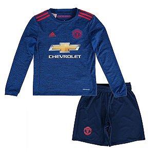 Kit infantil oficial adidas Manchester United 2016 2017 II jogador manga-comprida