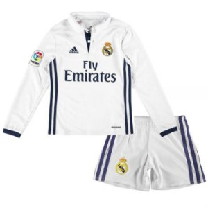 Kit infantil oficial Adidas Real Madrid 2016 2017 I jogador manga comprida