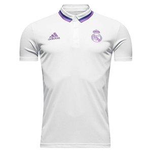 Camisa oficial Polo Adidas Real Madrid 2016 2017 branco