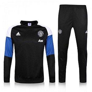 Kit treinamento oficial Adidas Manchester United 2016 2017 azul e preto