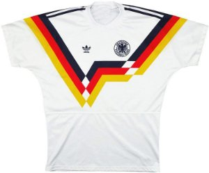 Camisa Retro Adidas Seleção da Alemanha Ocidental Copa de 1990 Branca