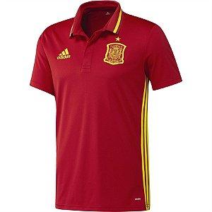 Camisa Polo oficial adidas seleção da Espanha  Euro 2016 vermelha
