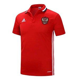 Camisa Polo oficial adidas seleção da Rússia Euro 2016 Vermelha