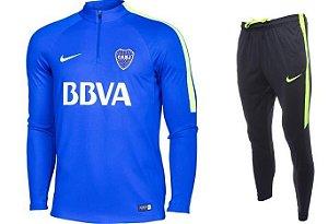 Kit treinamento oficial Nike Boca Juniors 2017 Azul e Preto