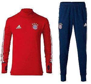 Kit pre jogo oficial Adidas Bayern de Munique 2017 2018 Vermelho e azul