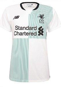 Camisa feminina oficial New Balance Liverpool 2017 2018 II