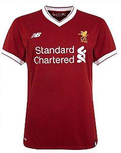 Camisa feminina oficial New Balance Liverpool 2017 2018 I