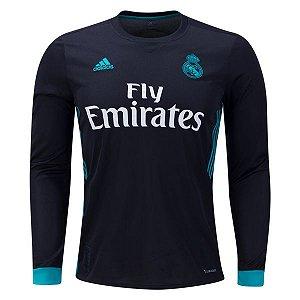 Camisa oficial Adidas Real Madrid 2017 2018 II jogador manga comprida
