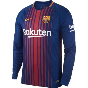 Camisa oficial Nike Barcelona 2017 2018 I jogador manga comprida