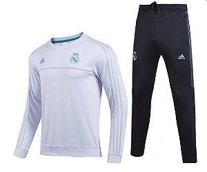 Kit pre jogo oficial Adidas Real Madrid 2017 2018 branco e preto