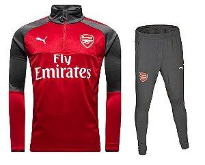 kit treinamento oficial Puma Arsenal 2017 2018 vermelho e preto