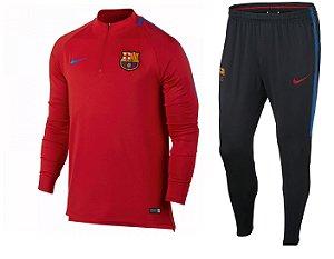 Kit treinamento oficial Nike Barcelona 2017 2018 vermelho e preto