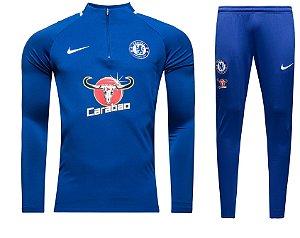 Kit treinamento oficial Nike Chelsea 2017 2018 Azul