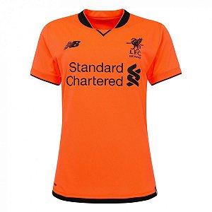 Camisa feminina oficial New Balance Liverpool 2017 2018 III