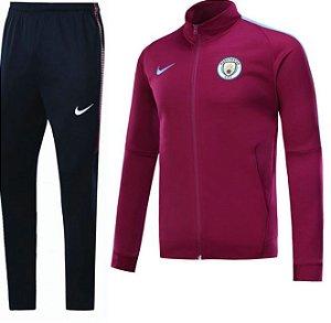 Kit treinamento oficial Nike Manchester City 2017 2018 Vermelho e preto