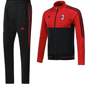 Kit treinamento oficial Adidas Milan 2017 2018 preto e vermelho