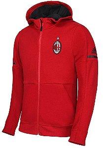 Jaqueta com capuz oficial Adidas Milan 2017 2018 Vermelha