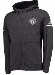 Jaqueta com capuz oficial Adidas Manchester United 2017 2018 Preta