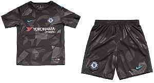Kit infantil oficial Nike Chelsea 2017 2018 III jogador