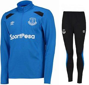Kit treinamento oficial Umbro Everton 2017 2018 Azul e preto
