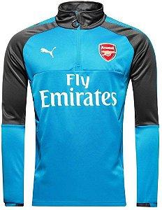 Blusão pre jogo oficial Puma Arsenal 2017 2018 Azul e preto