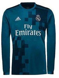 Camisa oficial Adidas Real Madrid 2017 2018 III jogador manga comprida
