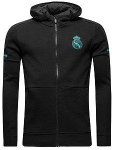 Jaqueta com capuz oficial Adidas Real Madrid 2017 2018 preta