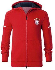 Jaqueta com capuz oficial Adidas Bayern de Munique 2017 2018 Vermelha