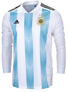 Camisa oficial Adidas seleção da Argentina 2018 I jogador manga comprida