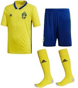 Kit adulto oficial Adidas seleção da Suécia 2018 I jogador