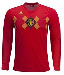 Camisa oficial Adidas seleção da Bélgica 2018 I jogador manga comprida