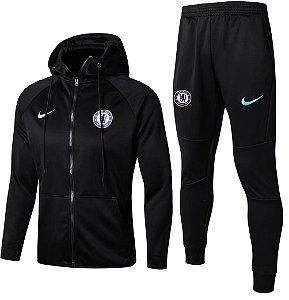 Kit treinamento com capuz oficial Nike Chelsea 2017 2018 Preto