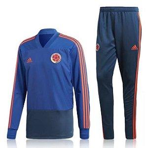 Kit treinamento oficial Adidas seleção da Colombia 2018 azul